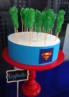Green Kryptonite at a Superhero Party! See more party ideas at… Superman Birthday Party, Batman Party, 6th Birthday Parties, Boy Birthday, Birthday Ideas, Anniversaire Captain America, Meghan Patrick, Turtle Party, Nerd Party
