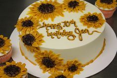cake decorated with lots of sunflowers ...