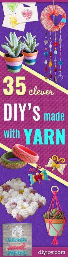 Clever DIY Crafts Made With Yarn - Yarn Crafts To Try, Easy Yarn DIYs, Fun…
