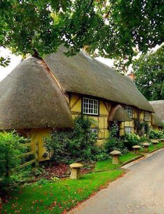 Wherwell, Hampshire, England, UK~~oh my goodness.a THATCHED yellow cottage! Be still my heart. Hampshire England, England Uk, English Country Cottages, English Countryside, Country Homes, Cute Cottage, Cottage Style, Yellow Cottage, Tudor Cottage