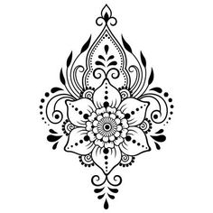 Mehndi flower pattern for Henna drawing and tattoo. Decoration in ethnic oriental, Indian style. Simple Mandala Tattoo, Mandala Flower Tattoos, Henna Mandala, Henna Drawings, Flower Tattoo Drawings, Mehndi Drawing, Henna Kunst, Henna Art, Henna Mehndi