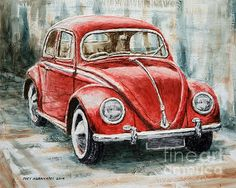 Title  1960 Volkswagen Beetle 2   Artist  Joey Agbayani   Medium  Painting - Acrylic On Canvas