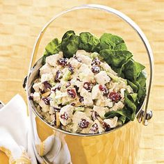 "Greek Chicken Salad Original Pinner Said - ""I love chicken salad and this might be the best ever.  The greek seasoning and lemon juice with the sweetness of the cranberries is fantastic."""