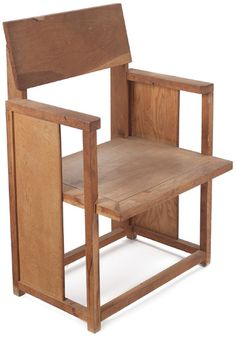 "Frank Lloyd Wright arm chair, prototype of chair designed for the Herman T. Mossberg House in South Bend, IN, 1948, made in oak and ash, 22""w x 18""d x 33""h,"