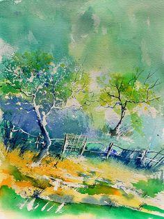 Landscape Painting - Watercolor 416010 by Pol Ledent