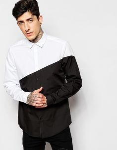 Image 1 of ASOS Shirt In Long Sleeve With Diagonal Cut And Sew