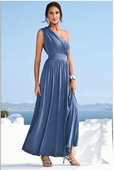 836191D2 - Boston Proper Grecian one-shoulder maxi dress $119.00