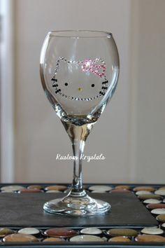Hello Kitty Wine Glass with Swarovski Crystals