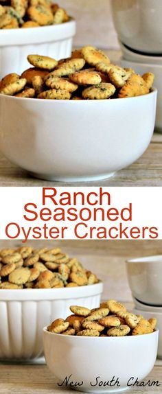 Ranch Seasoned Oyster Crackers are an easy to make addictive snacks that perfect for snacking on during the game or a neighbor gift at Christmas time.