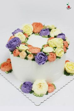 Korean Style Buttercream Flowers Cake