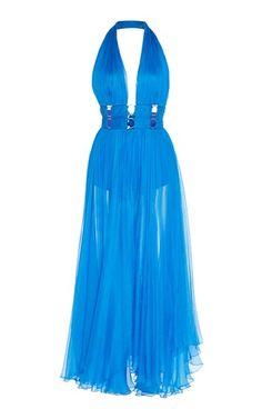 Maria Lucia Hohan Helena Metallic Mousseline Halter Dress