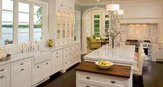 turquoise island dark floors | White cabinetry, turquoise walls and dark floors ... #coachbarn # ...