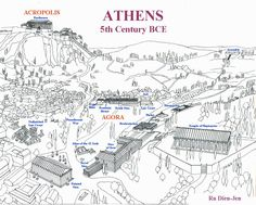 During the Classical Period, Athens thrived as a democratic power. This was the first democratic society in the world. The city gave power to Males in the form of the right to take part in the democratic process. Athens Map, Parthenon Athens, Acropolis, Greece Map, Athens Greece, Greece Travel, Greek History, Ancient History, Athenian Democracy