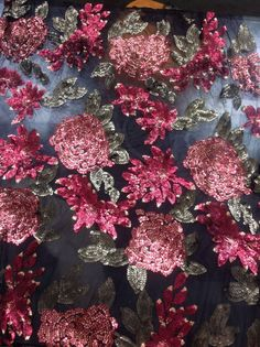 1 Yard Sequin Dress Fabric, Red  Floral sequin Fabric,Sequin Lace Fabric, Floral Fabric