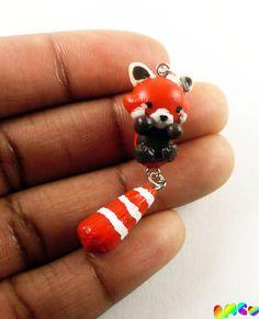 Cute Red Panda Charm, Painted, Hand Sculpted, Polymer Clay. RachelMarieClay