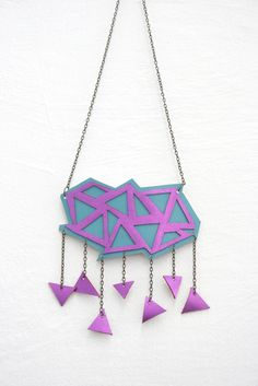 geometric cloud necklace made with leather by Titina