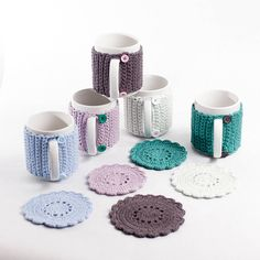 ethical accessories for individuals, handmade scarves, mittens, hats, socks and lots more for adults and children.The perfect gift for your tea lover. Mug with a handmade jacket with button fastenings with a matching coaster. Crochet Coffee Cozy, Crochet Cozy, Crochet Motifs, Crochet Gifts, Hand Crochet, Crochet Patterns, Coffee Cozy Pattern, Crochet Art, Crochet Kitchen