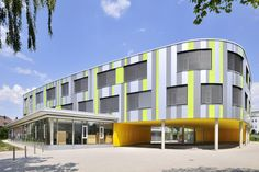 Image 8 of 12 from gallery of Laupheim School Extension / Herrmann + Bosch Architekten. Photograph by Ralf-Dieter Bischoff Hospital Architecture, Education Architecture, School Building, Facade Design, Most Visited, Bosch, Extensions, Multi Story Building, Mansions