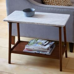 Reeve Mid-Century Side Table - Marble | west elm  Just ordered these babies for the living room and I can't wait!!!