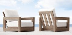 Costa | Restoration Hardware- I would love to make this one. I think the back would be stronger than the Belvedere from RH Outdoor Furniture Plans, Teak Furniture, Furniture Projects, Furniture Making, Furniture Design, Sofa Area Externa, Outdoor Couch, Wooden Sofa, Diy Sofa