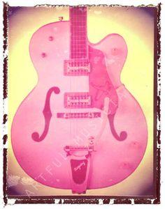 guitar print pink gretsch hollowbody guitar art print 5 x 7, gift for guy, gift for boyfriend
