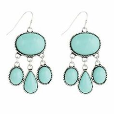 "Silver-finished earrings with rope-inspired details and faux turquoise bead drops.    Product: Pair of earringsConstruction Material: Metal and glass beadsColor: Turquoise and silverDimensions: 2"" H"