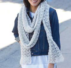 Snow Puff Scarf by Yarnspirations Crochet Kit Crochet Lace Scarf, Crochet Scarves, Crochet Yarn, Crochet Clothes, Free Crochet, Crochet Ideas, Free Knitting, Crochet Sweaters, Tunisian Crochet