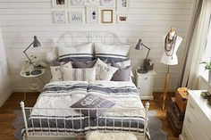 rustic white gray dimensions linen tables design with metal bed frame including frame decor on the wooden wall as well lamps table the bedside