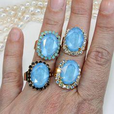 Sky Blue Ring Swarovski Crystal Baby Blue Opal RingAdjustable