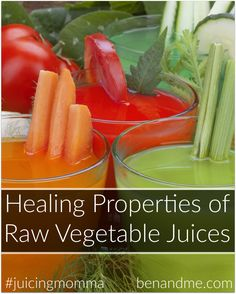 Healing Properties of Raw Vegetable Juices -- Drinking raw vegetable juices bridges the gap between how many vegetables we should consume and how many we actually eat. Eating your vegetables takes on a whole new meaning when you begin juicing.  #juicingmomma