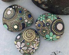 Painted Rocks Mandala Inspired Design Natural by etherealandearth