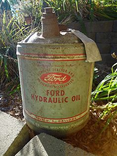 Vintage Metal Ford Tractor Hydraulic Antique Oil Can 5 Gallon Wood Handle