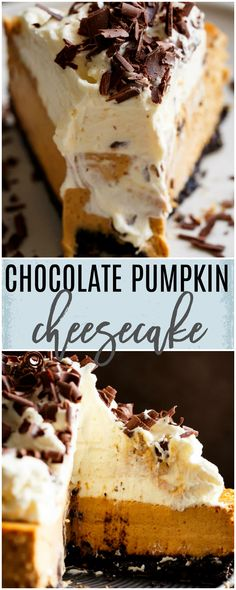 Chocolate Pumpkin Cheesecake is a fluffy, creamy pumpkin cheesecake perfect for Thanksgiving! Easy to make with an Oreo base and beautiful fall flavours!