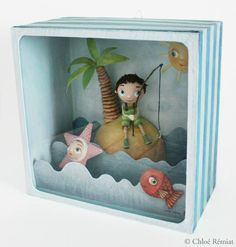 At the sea Paper Art, Paper Crafts, Tunnel Book, Matchbox Art, 3d Quilling, Up Book, Paperclay, Paper Toys, Altered Art