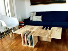 If you like to be organized when you entertain, here's a coffee table that offers more space for your nice things while also protecting your books