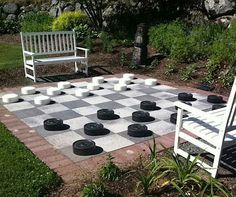 DIY Giant Backyard Checkers visit traditional home for details  And finally, another DIY project for both kids and adults alike! If you have enough space in the backyard, create the setting for a serious game of backyard checkers. Team the parents against the kids and let the entire family go to town!
