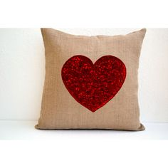 Burlap Heart Pillow Red Sequin Decorative Pillow Cushion Cover... (1,700 INR) via Polyvore featuring home, home decor, throw pillows, decorative pillows, grey, home & living, home décor, heart throw pillow, red accent pillows and grey throw pillows
