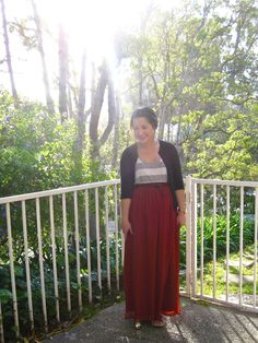 spring style: colored maxi skirt and stripes