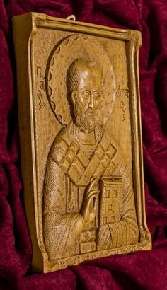 Saint Nicholas aromatic wall icon/plaque made with pure beeswax, mastic and incense from Mount Athos. Saint Nicholas, Patron Saints, Christian Gifts, Sailors, Wall Plaques, Incense, Hand Carved, Carving, Statue