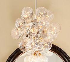 "Pottery Barn Belleville Pendant | 23"" diameter, 23"" high; cord length 42"", Adjustable pole fits 8' - 12' ceiling height, Short Pole (2): 8"", Long Pole (1): 12"", Canopy: 5"" diameter, Bulbs: (20) Type G, 15 watt bulbs (included) $799"