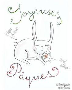 Joyeuses Pâques=Happy Easter!/l'oeuf de Pâques=Easter egg/le lapin de Pâques=Easter bunny.