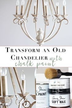 Easy Chandelier Makeover This easy step-by-step tutorial on how to transform that outdated chandelier leaves you with a gorgeous transformation! An Easy Chalk Paint Chandelier Makeover. Old Chandelier, Chandelier Makeover, Painting Chandeliers, Spray Painted Chandelier, Paint Lamps, Kitchen Chandelier, Furniture Makeover, Diy Furniture, Inexpensive Furniture