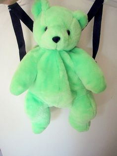 Vintage 90s Neon Green Teddy Bear Doll Plush by ThatsSo90s,