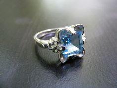 15% Off Sale.S208 Made to Order...New Sterling Silver Antique Floral Design Ring with 2 Carat Princess Natural Blue Topaz Gemstone by silverfoxjewelers on Etsy https://www.etsy.com/listing/159253581/15-off-sales208-made-to-ordernew