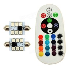 [US$7.99] 1 Pair RGB Remote Control 5050 Car LED Light Flash Interior Lamp 6SMD 41MM  #41mm #5050 #6smd #control #flash #interior #lamp #light #pair #remote