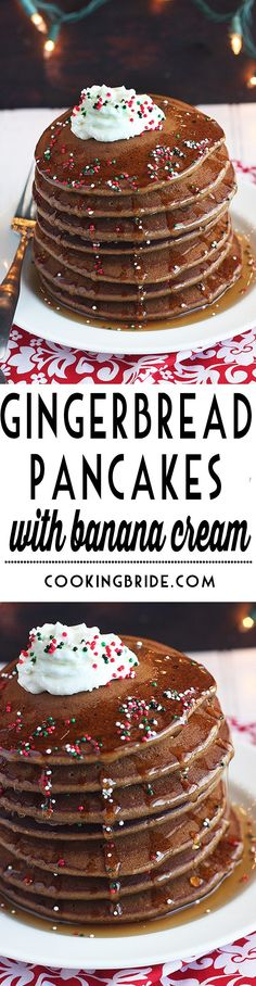 Perfect for Christmas morning, these yummy gingerbread pancakes are topped with decadent banana whipped cream and a drizzle of maple syrup.