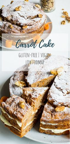 A delicious recipe for carrot cake that is really simple to make, is vegan, gluten-free and low fodmap too! Gluten Free Cupcakes, Vegan Cupcakes, Gluten Free Treats, Gluten Free Baking, Vegan Baking, Dairy Free Recipes, Baking Recipes, Vegan Recipes, Fodmap Dessert Recipe