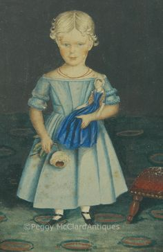 Antique American School Folk Portrait of Young Girl in Fancy Interior Room