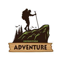 Illustration about Hiking Logo Template. Vector Illustration Emblem Design Vinta… - How To Hiking Hiking Logo, Hiking Gear, Hiking Europe, Hiking Tips, Hiking Backpack, Mountain Illustration, Graphic Design Illustration, Hiking Tattoo, Hiking Quotes