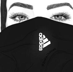 art, noir, dessiné, fille, blanc